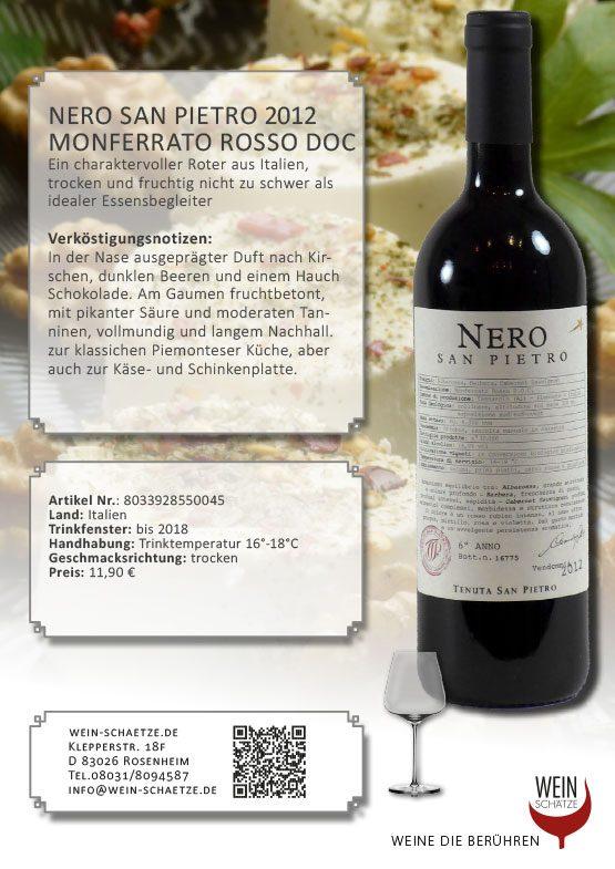 Nero San Pietro 2012 Monferrato Rosso DOC