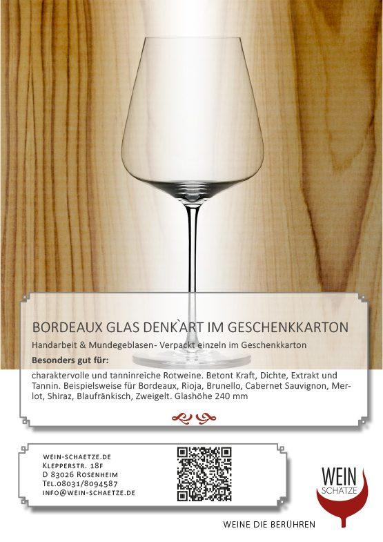 Bordeaux Glas Denk`Art im Geschenkkarton