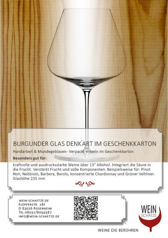 Burgunder Glas Denk`Art im Geschenkkarton