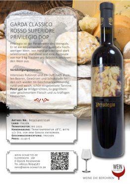 Wein Schätze 8034140221546: Garda Classico Rosso Superiore Privilegio DOP